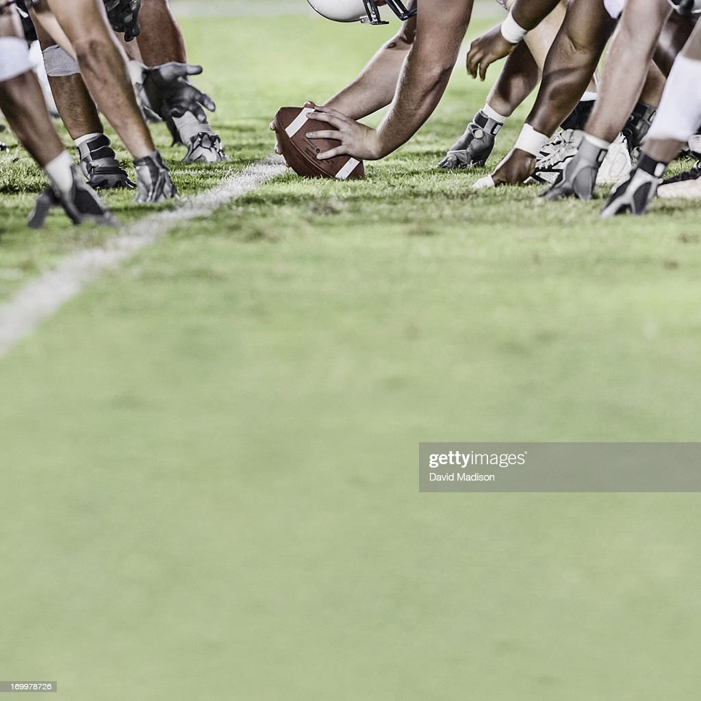 American football line of scrimmage : Stock Photo
