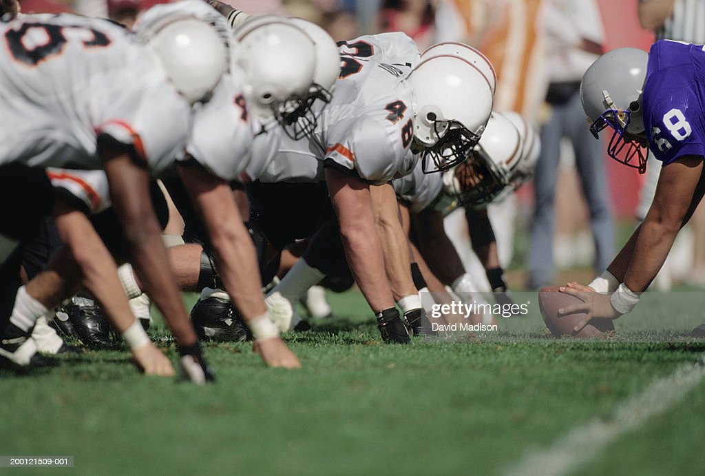 American football line of scrimmage (Digital Enhancement) : Stock Photo