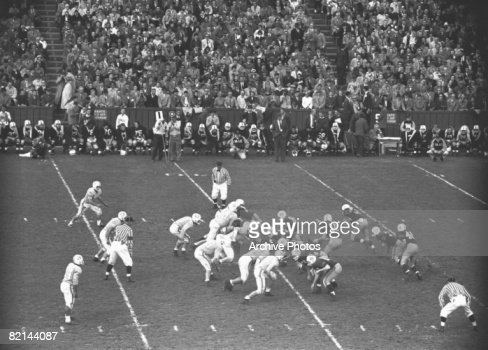 American football match, (B&W), elevated view : Stock Photo
