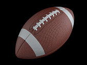 American football on dark background with clipping path. Super bowl. 3d render illustration