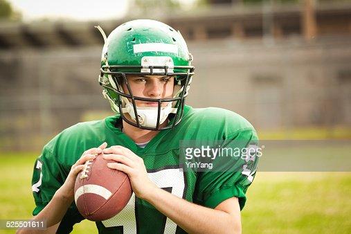 American Football Player, High School Quarterback Ready to Throw Pass