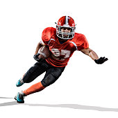 American football player in action isolated on the white