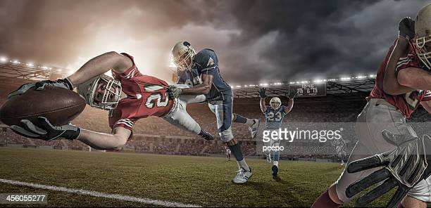 American Football Player in Mid Air Touchdown Tackle
