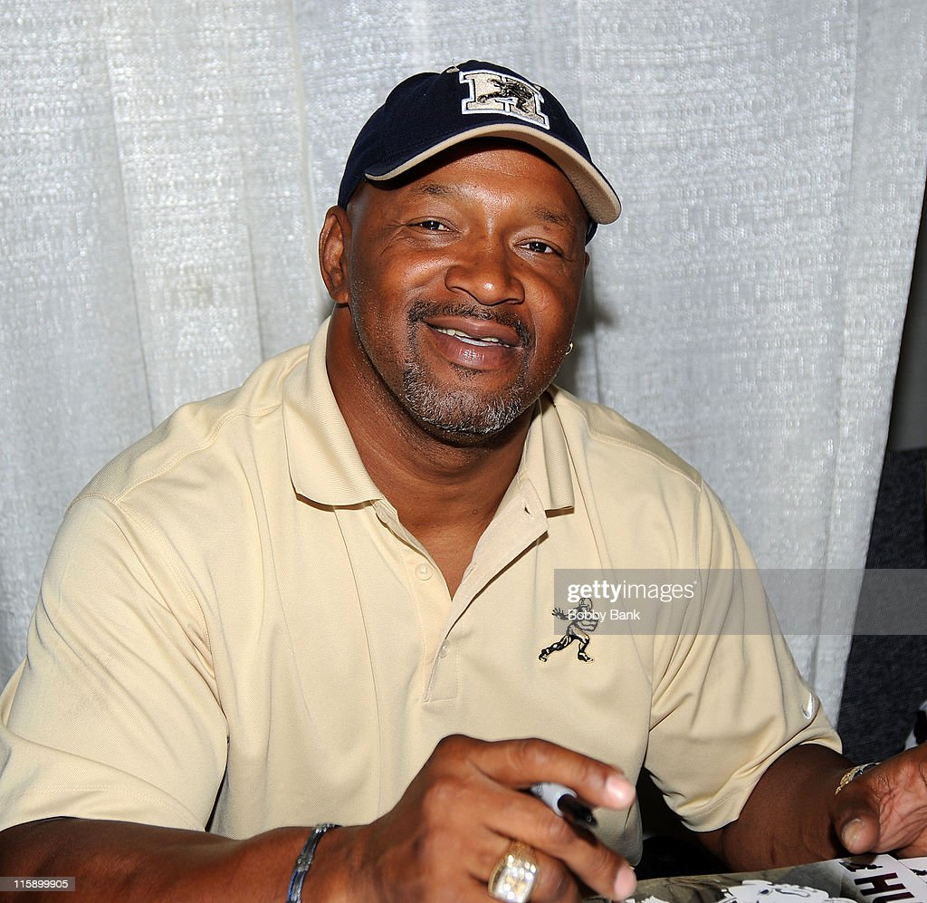 American football player, <a gi-track='captionPersonalityLinkClicked' href=/galleries/search?phrase=Mike+Rozier&family=editorial&specificpeople=622828 ng-click='$event.stopPropagation()'>Mike Rozier</a> attends the Collectors Showcase of America at Raritan Center on June 11, 2011 in Edison, New Jersey.