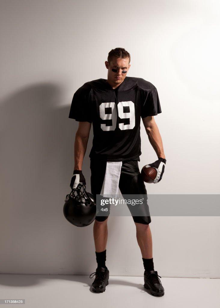 American football player posing