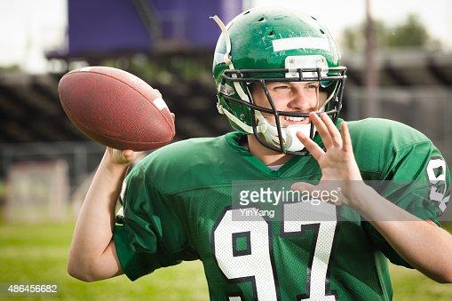 American Football Player Quarterback Throwing a Pass Close-up