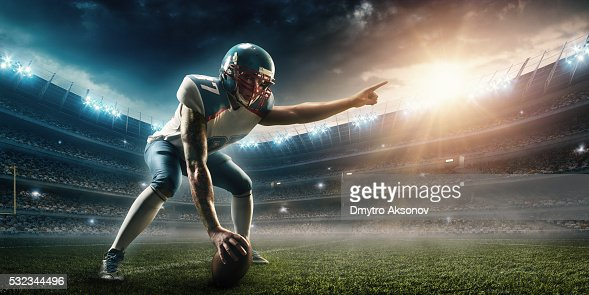 American football player stand