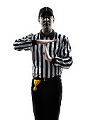 american football referee gestures time out in silhouette on white background