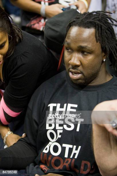 American football running back for the Indianapolis Colts Joseph Addai attends the Cleveland Cavaliers vs Indiana Pacers game at Conseco Fieldhouse...