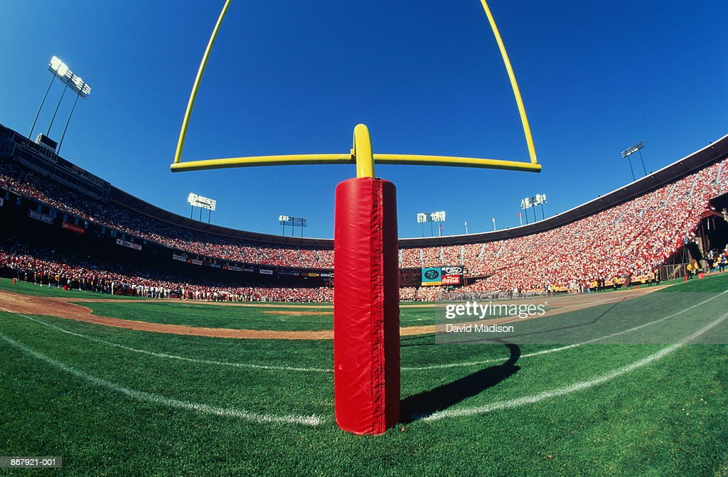 American football stadium, wide angle of goal post