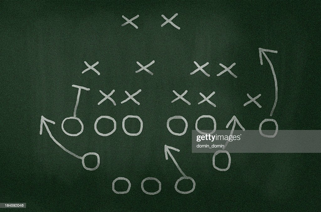 American football strategy diagram on chalkboard, vignette added : Stock Photo