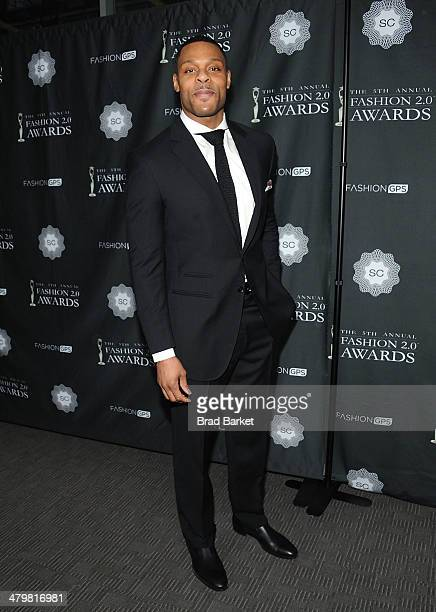 American football tight end Visanthe Shiancoe attends the FASHION 20 Awards at Merkin Concert Hall on March 20 2014 in New York City