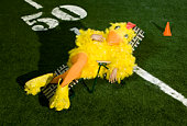American football yellow bird mascot sitting in sunlounger on pitch