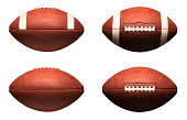 American Footballs Isolated on White Background