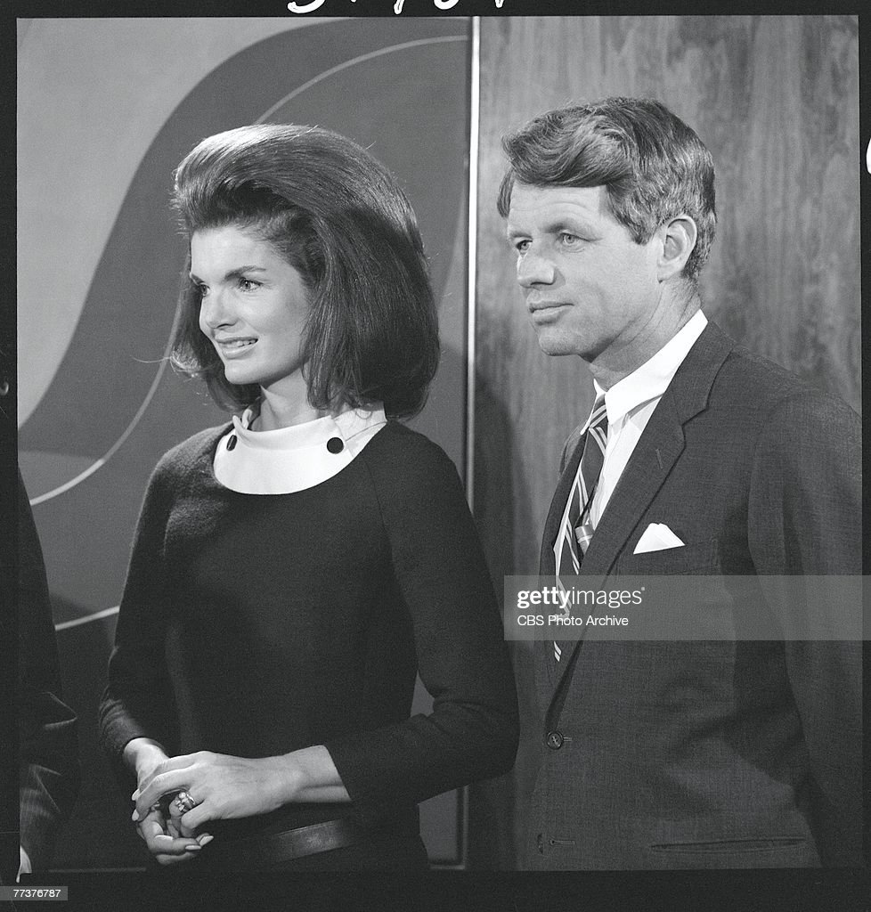 American former First Lady <a gi-track='captionPersonalityLinkClicked' href=/galleries/search?phrase=Jacqueline+Kennedy&family=editorial&specificpeople=70028 ng-click='$event.stopPropagation()'>Jacqueline Kennedy</a> Onassis (1929 - 1994) and Senator Robert F. Kennedy (1925 - 1968) at an event where 650,000 feet of news and video tape footage of the former president was donated as a joint gift from CBS News and NBC News for the John F. Kennedy Presidential Library and Museum, May 4, 1967. The Library, originally planned to be located at Harvard University in Cambridge, was later relocated to Boston.