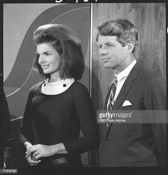 American former First Lady Jacqueline Kennedy Onassis and Senator Robert F Kennedy at an event where 650000 feet of news and video tape footage of...