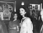 American former First Lady Jacqueline Kennedy Onassis attends the premiere of the film 'That's Entertainment Part II' at the Ziegfeld Theatre New...