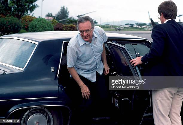 American former politician and US Ambassador at Large to Central America Richard Stone steps out of a car at Ilopongo Airport San Salvador El...