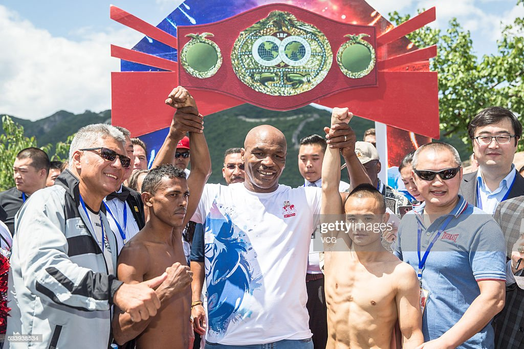 American former professional boxer <a gi-track='captionPersonalityLinkClicked' href=/galleries/search?phrase=Mike+Tyson&family=editorial&specificpeople=194986 ng-click='$event.stopPropagation()'>Mike Tyson</a> poses on the Great Wall during the Weigh-in of IBF World Boxing Championship Bout at Mutianyu on May 24, 2016 in Beijing, China.
