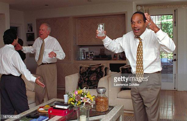American former professional football player and actor OJ Simpson celebrates his acquittal on double murder charges Brentwood California September...
