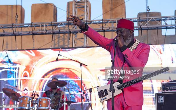 American free jazz bassist Jamaaladeen Tacuma performs on the stage during 19th Annual Gnaoua Music Festival at Moulay Hassan square in Essaouira...