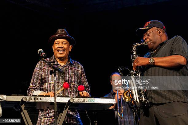 American funk soul and jazz composer Roy Ayers on vibraphone and Ray Gaskins on alto saxophone perform with the Mafia Jazz Symphony at Central Park...