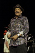 American funk soul and jazz composer Roy Ayers plays vibraphone during a performance with the Mafia Jazz Symphony at Central Park SummerStage New...