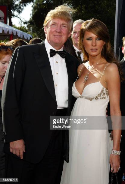 American game show host and real estate developer Donald Trump and his fiance Melania Knauss attend the 56th Annual Primetime Emmy Awards on...