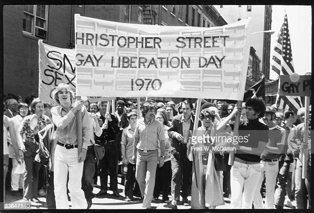 American gay rights activists Foster Gunnison Craig Rodwell lead the first Stonewall anniversary march then known as Gay Liberation Day New York New...