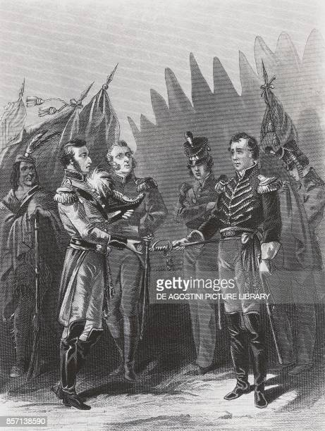 American General William Hull's surrender to the British troops and Native American warriors in Detroit July 15 AngloAmerican war engraving United...