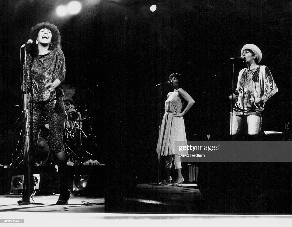 American girl group The Pointer Sisters on stage circa 1980