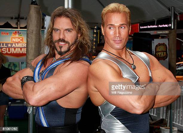 American Gladiators Wolf and Titan attend the launch of the NBC 'AllAmerican Summer' and season premiere of American Gladiators at Times Square May...