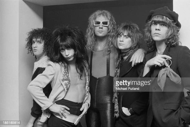 American glam rock group the New York Dolls London 23rd November 1973 Left to right guitarist Sylvain Sylvain guitarist Johnny Thunders bassist...