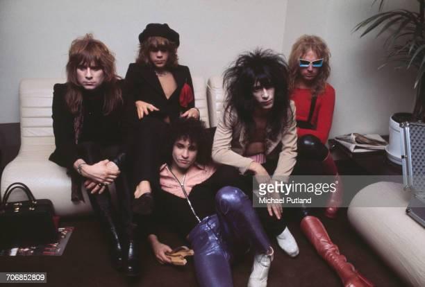 American glam rock group the New York Dolls posed in London 23rd November 1973 Left to right drummer Jerry Nolan singer David Johansen guitarist...