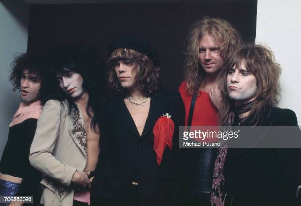 American glam rock group the New York Dolls posed in London on 23rd November 1973 Left to right guitarist Sylvain Sylvain guitarist Johnny Thunders...