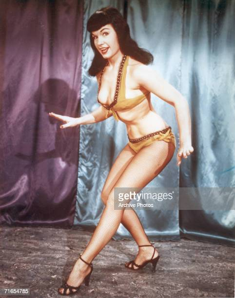 American glamour model and pinup girl Bettie Page circa 1955