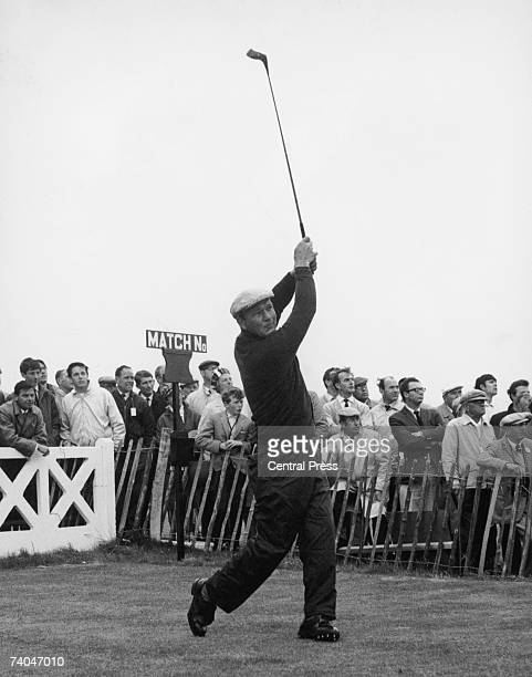 American golfer Arnold Palmer practises for the British Open Golf Championship at Royal Birkdale Golf Club 5th July 1965