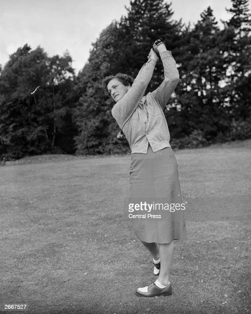 American golfer Babe Zaharias practices on the couse at Sunningdale