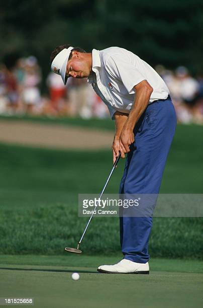 American golfer Bob Tway putting at the PGA Championship at Inverness Club in Toledo Ohio 9th August 1986 Tway won the competition his only major...