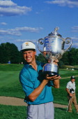 American golfer Bob Tway with the trophy after winning the PGA Championship at Inverness Club in Toledo Ohio 11th August 1986 This was Tway's only...