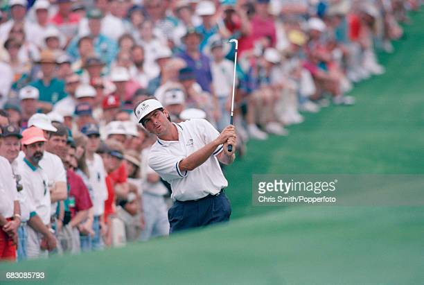 American golfer Fred Couples pictured in action during competition in the final round to finish in first place to win the 1992 Masters Tournament at...