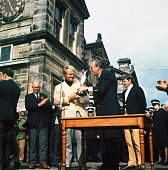 American golfer Jack Nicklaus receives the Claret Jug trophy after winning the British Open at the Royal and Ancient Golf Club of St Andrews Scotland...
