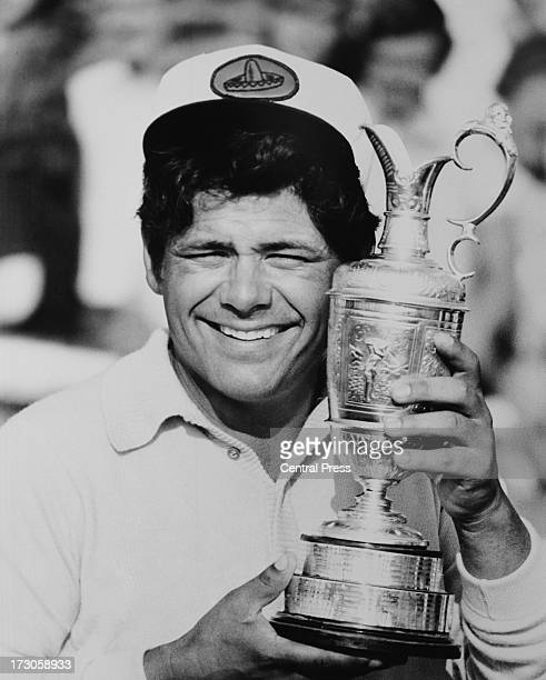 American golfer Lee Trevino with the trophy after winning the Open Championship at Muirfield Golf Links East Lothian Scotland 15th July 1972