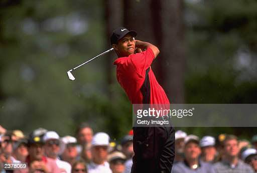 American golfer Tiger Woods in action on the final day of the US Masters at Augusta Georgia April 13 1997 Woods went on to win the tournament with a...