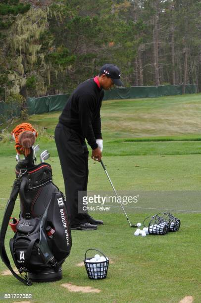 American golfer Tiger Woods lines up a shot with his club during the 110th US Open golf championship Pebble Beach California June 20 2010