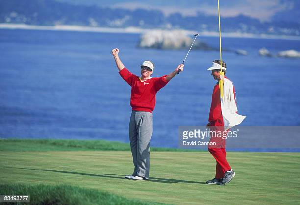 American golfer Tom Kite at the 18th tee during the final round of the US Open at Pebble Beach California June 1992 Kite won the tournament