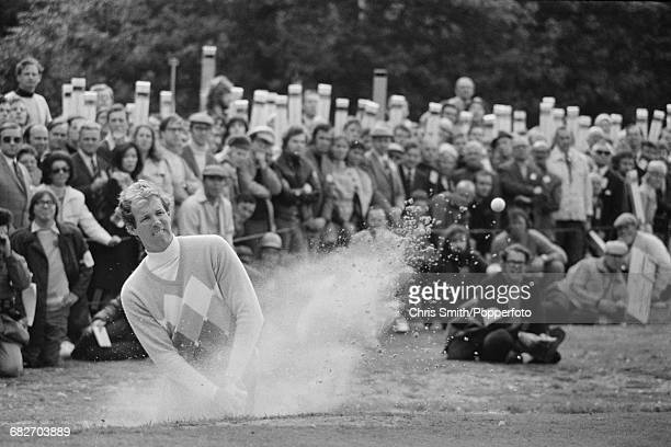 American golfer Tom Weiskopf pictured in action to beat Lee Trevino in the final round of the 1972 Piccadilly World Match Play Championship to become...