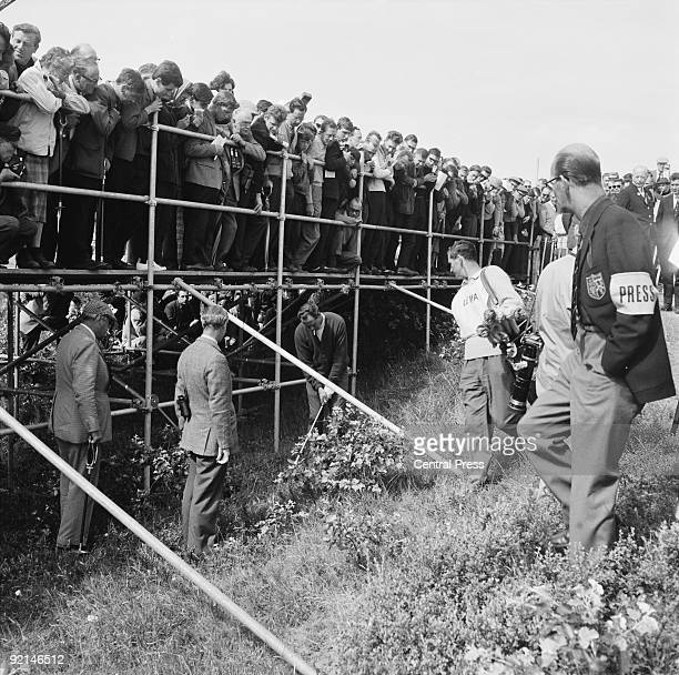 American golfer Tony Lema plays from the 10th at Royal Birkdale Golf Club Southport during the Open Golf Championship 8th July 1965 The scaffolding...