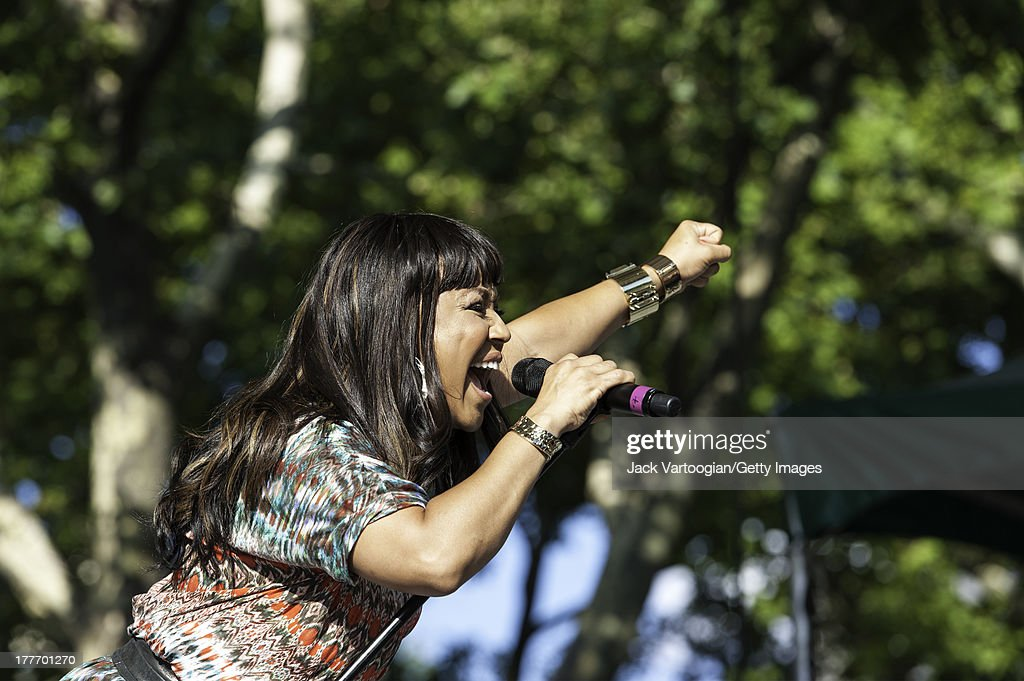 American Gospel singer Erica Campbell onehalf of Gospel group Mary Mary performs at the WLIB 6th Annual Gospel Explosion at Central Park SummerStage...