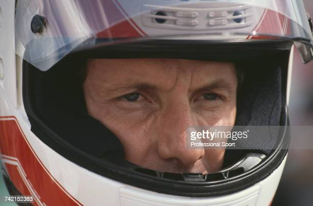 American Grand Prix motorcycle road racer Eddie Lawson pictured prior to riding the 500cc Marlboro Roberts Yamaha YZR500 to finish in 2nd place in...
